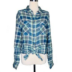 Free People Womens L First Bloom Plaid Top Button